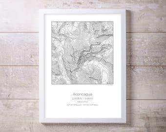 Aconcagua, Argentina Topography Elevation Print Wall Art