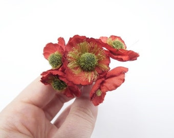 6 Red Poppy Flowers Small Flowers Silk Flowers Artificial Flowers Fake Flowers Silk Flowers Green Decorative Flowers Craft Flowers