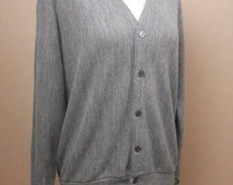 Heather Gray 60's Golf Cardigan, Size Medium
