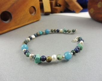 """Blue Bracelet with African Turquoise and Lapis Lazuli - """"Shallow Waters"""""""