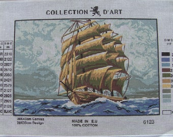 CANVAS; Canvas Art collection: boat 6123 old sailboat size 40/50