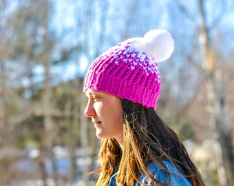 Knit Pink & White Gradient Heart Hat with Pom Pom