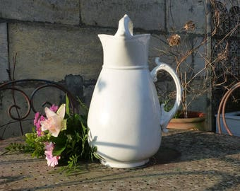 LARGE French Antique Pitcher - White Ceramic Toilet Jug - White Pitcher - Terre de Fer - Ironstone Jug - French Decor - Large White Pitcher