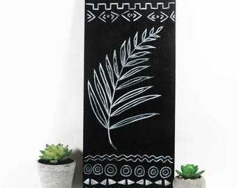 Original Black and White Wall Art - Tropical Style Palm - Botanical Art - Bohemian Decor - Hand Painted