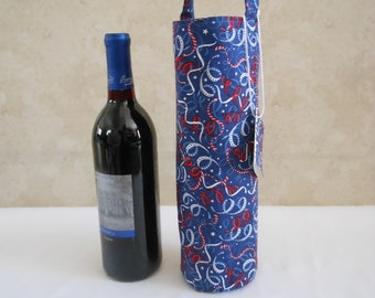 wine tote with red white blue streamers, hostess gift for holiday picnic, birthday gift for him or her, USA celebration gift bag, wine sack