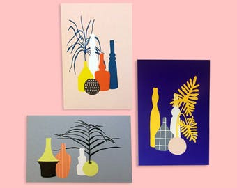 set plants illustrated postcards