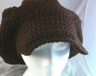 Crocheted Slouchy Cap with Brim - Chocolate Brown