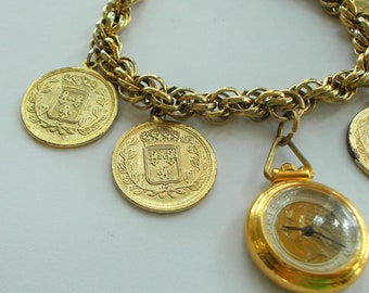Sheffield Watch Watch Fob With Gold Tone French Coins - French Coin And Watch Charm Bracelet - Mid Century Sheffield Republic of France Fob