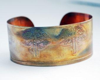 Etched Copper Cuff  Bracelet - tree design - medium size - SALE 20% off - was 27 dollars