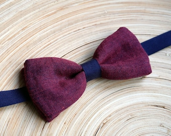 Bow tie with blue and plum mottled fabric