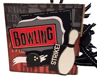 Bowling Scrapbook - Mini Bowling Sports Paper Bag Album