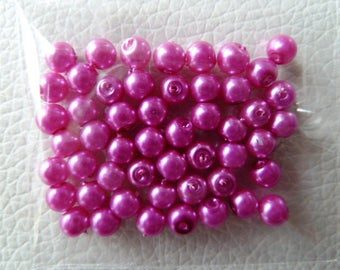 Color pink x 50 beads - round 4 mm round pearls