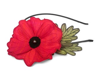 Electric Crimson Icelandic Poppy Flower Headband- You Choose Headband, Clip, or Brooch- Embroidered Silk Flower Fascinator with Leaves