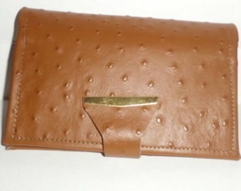 Emboss Ostrich top stub check book cover/ Emu embossed