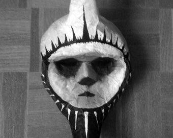Paper mache mask. Moon Mask XVIII Tarot. Harlequin Moon. Includes gift.