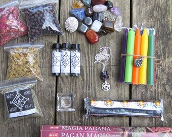 Wicca Starter Kit, witchcraft supply, pagan wiccan kit supplies,witchcraft box, occult, crystal set, altar tools, magick, wiccan herbs