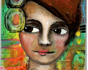 Carefree Girl, 8x10 Original Painting, Mixed Media, Girl Portrait, Subconscious Mind, Weird, Bright Colors, Woman Face, Orange, CraftyMoira