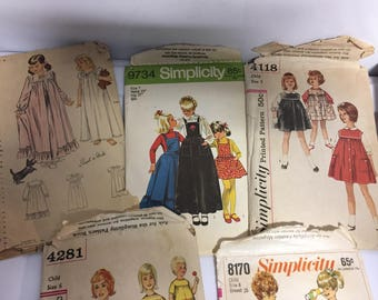 Vintage Pattern Lot Girls Clothes 1950s and 1960s szs 5 -7