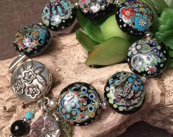 MOONLIT GARDEN, artisan lampwork and sterling silver bracelet