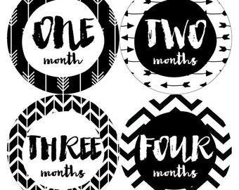 Black And White Arrows Baby Monthly Stickers, Baby Month Sticker,Milestone Stickers,Black And White Baby Stickers,Arrow Monthly Baby Sticker