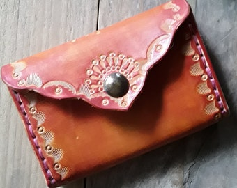 Leather Coin Holder - Small Card Holder - Slim Wallet - Hand Tooled Leather Coin Purse - Credit Card Leather Holder - Coin Holder