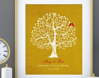 50th Wedding Anniversary Tree Gift, Golden Anniversary gift for parents,parents-inlaw, 8 x 10 poster print custom colors, fonts