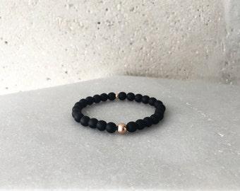1206 Bracelet - Large Matte Black Onyx Stretch Bracelet