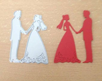 Bride and groom die cut metal die cutter cutting die stencil scrap booking card making paper wedding