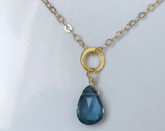 London Blue Necklace Blue Topaz Necklace Briolette Necklace Blue Topaz Necklace Quartz Necklace 14 K Gold Necklace December birthstone