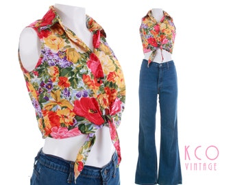 Vintage Floral Crop Top Tie Front Collared Blouse Women's Size XS - Small / 1980's Red Yellow Green Lightweight Rayon Summer Boho Retro Tops