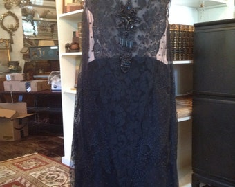Beautiful 1920's Black Lace Dress