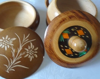 wooden lidded containers x 2