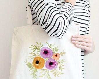 Watercolor Floral Tote Bag - Canvas Tote Bag - Bridesmaid Gift Bag - Watercolor Tote Bag 15x15 Reusable Grocery Bag - Watercolor Canvas Bag