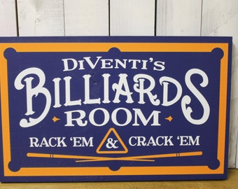 Personalized Billiards Room Sign/Man Cave/Father's Day/Orange/Blue/YOU choose Name and Colors/Pool Table/Male Gift/Wood Sign/Team Colors