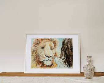 Original watercolor, painting, mixed media, lion and girl