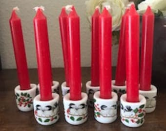 Vintage Rauschert Porcelain Candle holders and Candles