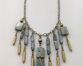 Quamby Designs: Kyanite and Pyrite with Brass Beaded Necklace