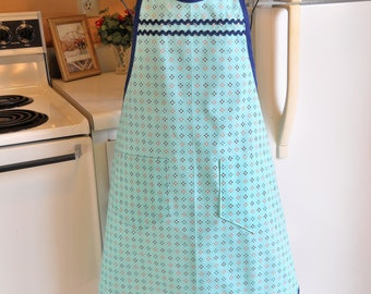 Women's Vintage Style Full Apron in Teal and Navy Size L and XL