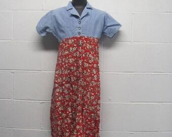 Vintage Denim and Floral 90s Dress