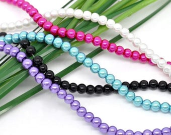 Lot 50 round glass beads mixed 4mm