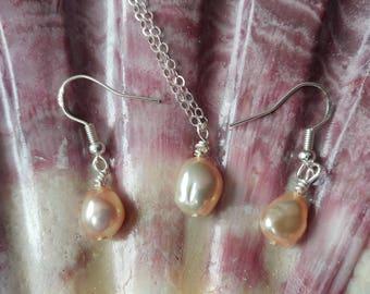 Pearl necklace - Pearl earrings - Freshwater pearls - Beach jewelry - Pearl jewelry - Pearl gift set - Wedding jewelry - Women's jelwery
