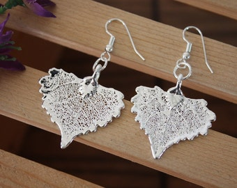 Small Silver Leaf Earrings, Cottonwood Leaf, Heart Shaped Earrings, Real Leaf Earrings, Cottonwood, Sterling Silver, Nature, LESM145