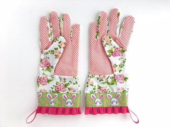Designer Garden Gloves. Pink And Green Spring Floral And Easter Bunnies.  Fancy Work Gloves For Women. Motheru0027s Day Gardening Gift.