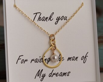 Mother of the Groom Necklace - Gold plated Infinity Necklace with pearl