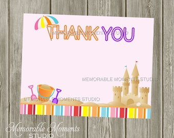 "INSTANT DOWNLOAD - Printable 5.5""x4.25"" flat Thank You Cards - Summer Fun - Beach Sandcastles - Memorable Moments"