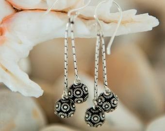 Sterling Silver Drop Earrings, Dangle Earrings, Dangly Earrings, Oxidised Silver, Ball Earrings, Flower Earrings, Gift for Her, Womens Gift
