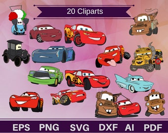 20 Cars cliparts,Lightning Mcqueen,Mcqueen clipart,Mcqueen svg,mcqueen printable,cars printable,cars shirt,cars svg,cars decal,cars gift