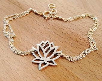 Dainty Lotus Bracelet, Lotus Flower Charm, Lotus Jewelry, Gold Lotus Anklet, Yoga Jewelry, Sterling Silver Lotus, Delicate Anklet, Bracelet