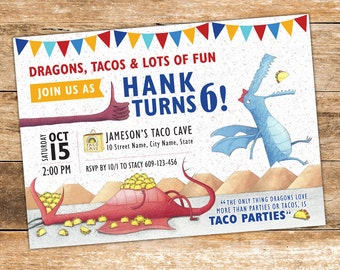 Dragons Love Tacos Invitation - Printed / DIY / Printable Digital file. Dragons Invitation. Tacos Invitation. First Birthday Second Birthday