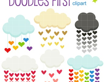 Heart Showers Digital Clip Art for Scrapbooking Card Making Cupcake Toppers Paper Crafts